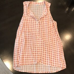 Splendid checkered button up tank top